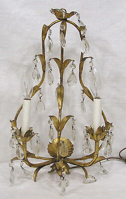 Vtg Hollywood Regency Florentia Hanging Gold Metal Sconce Prisms Leaves Italy