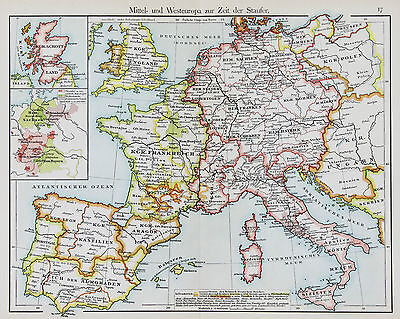 1905 EUROPE ENGLAND Map Spain France Germany Italy Original Color ...