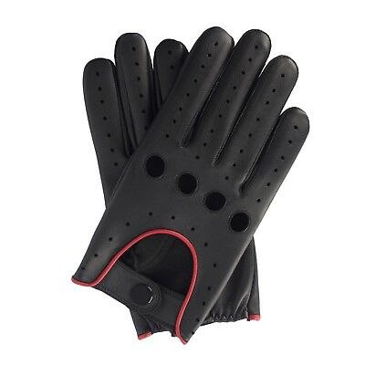 Mens driving Leather fashion chauffer Gloves with Quality stud fastern