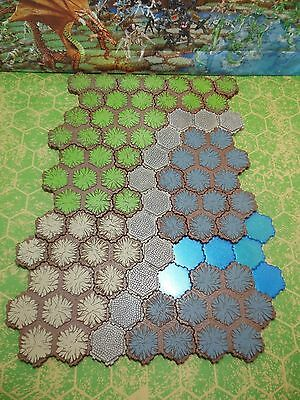 87 Hexes of Heroscape Terrain  Grass, Rock, Sand, Road and Sparkling Water