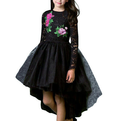 Flower Girl High Low Dress Embroidery Lace Trailing Birthday Party Kid Dresses