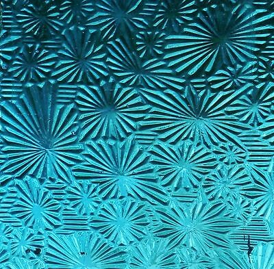 3 Turquoise Aqua Antique Vintage Patterned Glass Sheets Stained Door Window
