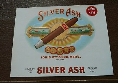 Silver Ash Inner Cigar Box Label Consolidated Litho. New York Louis Ott & Son