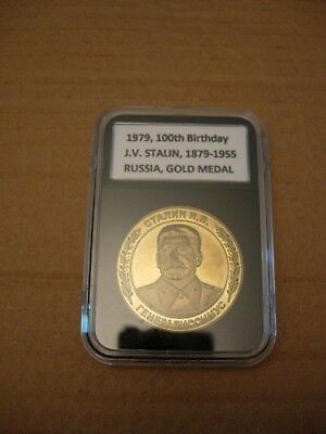 1979 , RUSSIA , 100th Birthday J.V. Stalin 1879 - 1955 , GOLD MEDAL , EX-RARE !!