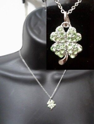 Silver Metal Chain Necklace Green Crystal Lucky Clover Leaf Plant Irish Pendant