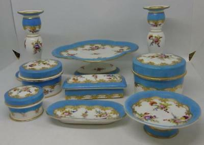 STUNNING! Minton 9 Piece Dressing Table Set Hand Painted Flowers c1830s 3 Pots