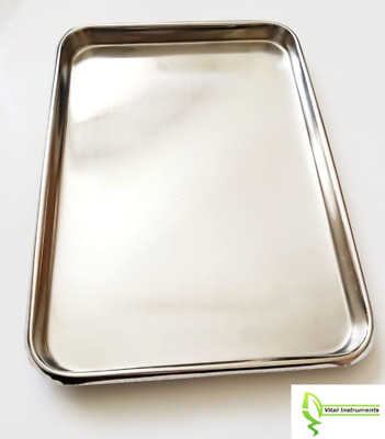 """Instrument Tray Stainless Steel Tattoo/Piercing Medical Dental Serving 13""""x9"""""""