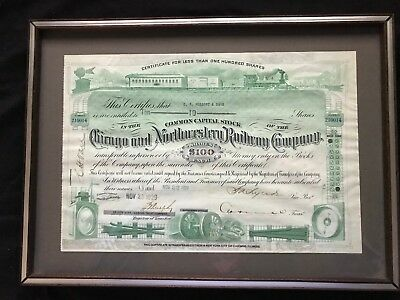 1929  Chicago and Northwestern Railway Company Stock Certificate (Green) Framed