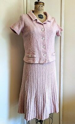 Vintage Knit Bloucle womans pink suit 60's