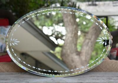 Partylite Oval Beveled Mirror Etched Tray Table Vanity Display Wall Hanging