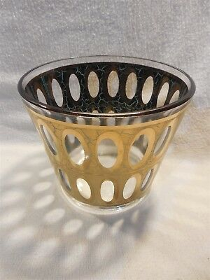 Vintage Mid Century Modern Culver Gold Leaf & Turquoise Design Glass Ice Bucket