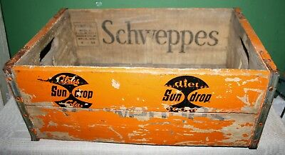 1950's Schweppes with Sun drop Stenciled Over Rare Wooden Crate