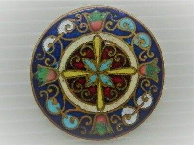 stunning large antique french champleve enamel gilt brass button 32mm 1&1/14inch