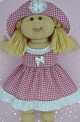 "Play n Wear Doll Clothes To Fit 16"" Cabbage Patch  RED GINGHAM DRESS~HAT"