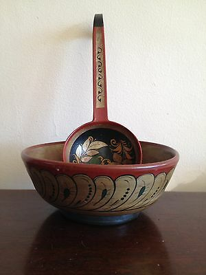 Vintage Russian Semenov Factory Khokhloma Lacquered Birch Bowl and Ladle