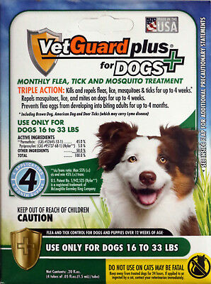 VetGuard Plus Flea, Tick & Mosquito Treatments for Dogs 16-33 lbs (4 Month)