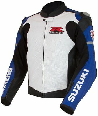 Suzuki Gsxr New Motorcycle Leather White Racing Jacket Ce Approved All Sizes