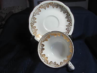 Eb Foley Bone China  Cup And Saucer England   White/vine Of Gold Grapes