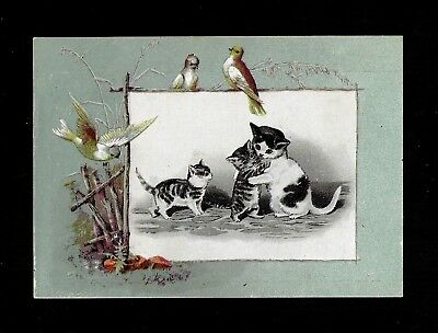 Mama Cat & Her Adorable Kittens-1880s Victorian Embossed Trade Card
