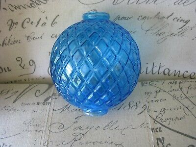 Blue Flat Quilt Lightning Rod Ball