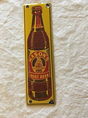 Old Mason's Root Beer Bottle Porcelain Soda Advertising Door Push Plate Sign