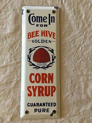 Old Come In for Bee Hive Golden Corn Syrup Porcelain Advertising Door Push Plate