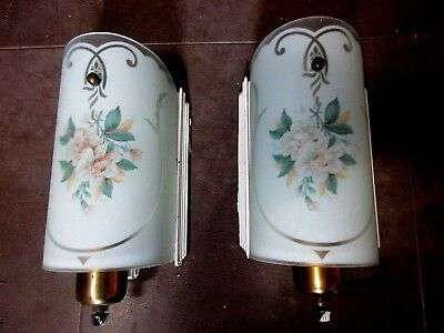 Wall Sconces VINTAGE Pair BRASS MID CENTURY BEDROOM PAINTED  SHADES Glass