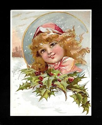 Snowflakes Fall On Pretty Little Girl-1893 Victorian Christmas Trade Card