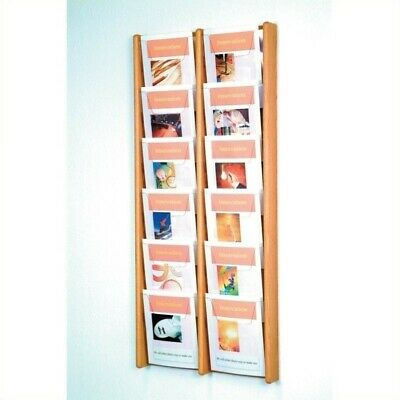 Pemberly Row 12 Pocket Acrylic and Oak Literature Display in Light Oak