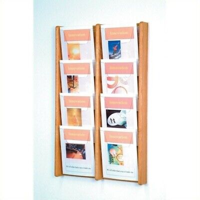 Pemberly Row 8 Pocket Acrylic and Oak Literature Display in Light Oak