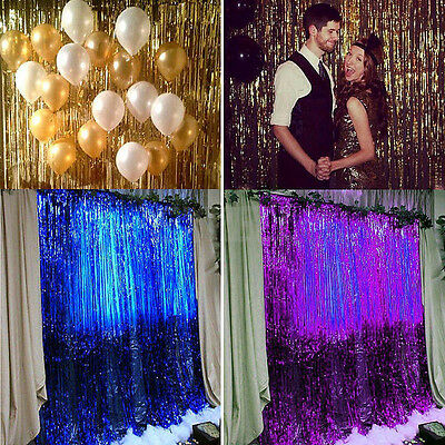1M Metallic Fringe Curtain Party Foil Tinsel Room Door Wedding Home Decor Photo