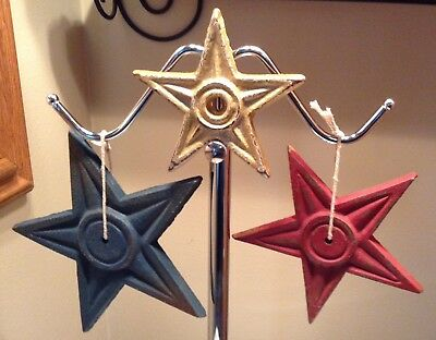 Lot Of 3 Antique Cast Iron Stars Building Anchor, Salvage 5 Points Architectural