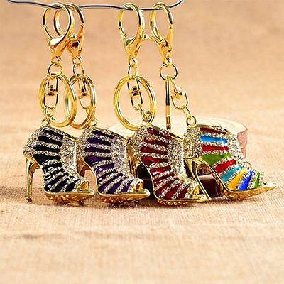 New High Heel Crystal Key Chain Rhinestone Shoe Purse Charm Pendant Bag Keyrings