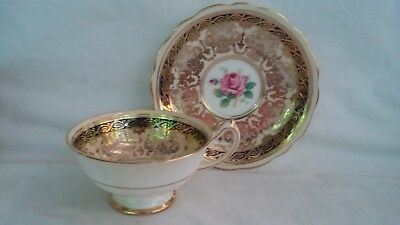 Paragon Fine China By Appointment of the Queen Mary Pink/Gold Tea Cup & Saucer