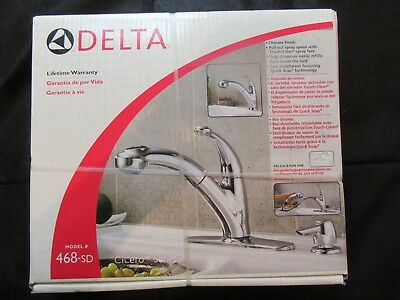Delta Kitchen Faucet NIB New in Box 468-SD Ciscero Series, Chrome w/ Soap Disp