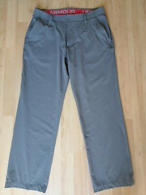 Mens UNDER ARMOUR Loose Fit Athletic Golf Pants 36/30 Gray Flat Front NWOT