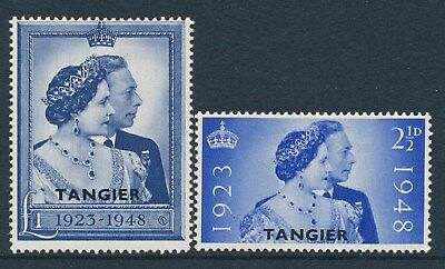 1948 Tangier Overprint Royal Silver Wedding Set Of 2 Mint Hinged Sg255-Sg256