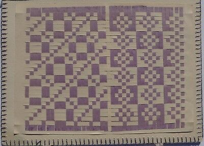 Antique Paper Weaving Patterns On Cards / Reverse Sides With Mirrored Variations