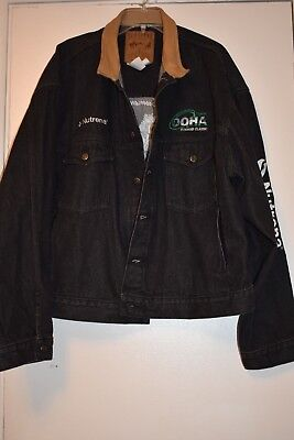 Schaefer OQHA Oregon Quarter Horse Association denim jacket leather collar