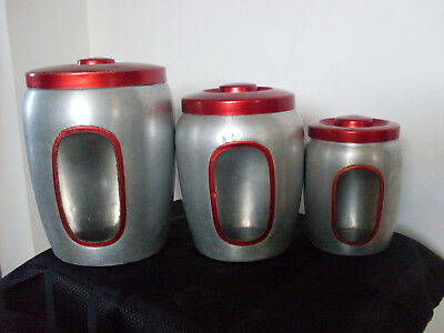 Awesome Vintage Anodised Canisters X 3 - Great Condition For Age