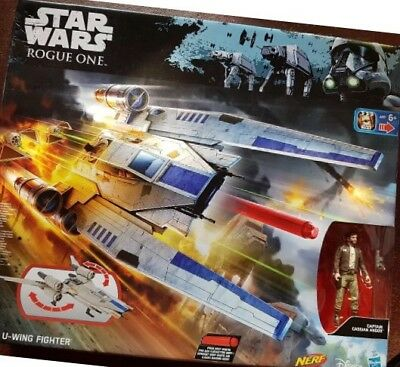 Disney Star Wars Rogue One Rebel U-Wing Fighter with Nerf Darts  Used