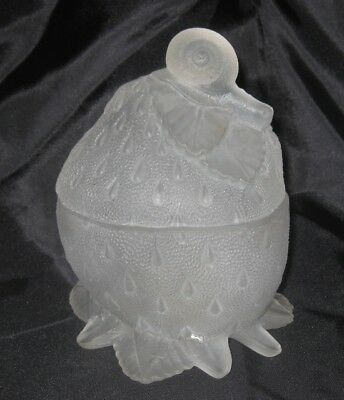 Vintage Portieux Vallerysthal France Clear Frosted Glass Sugar Bowl Strawberry