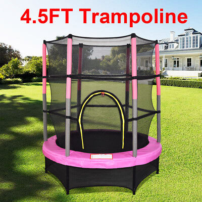 "4.5FT 55"" Junior Kids Child Trampoline Set With Safety Net Enclosure New"