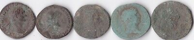 Lot Of 5 Large Ancient Uncleaned Roman Coins  Free Post