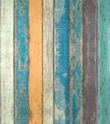 Peel and Stick Wood Plank Wallpaper Tan/Blue/Brown Self Adhesive Contact Paper
