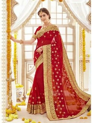 Indian Bollywood Traditional Designer Embroidered Red Georgette Party wear Saree