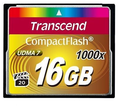Transcend 16GB CF 1000X 160MB/sec Read 70MB/sec Write Compact Flash Card sm UK