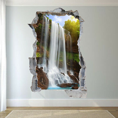 GoEoo Artistic 3D Watefall River Landscape Picture On Rustic Brick Wall 10x7ft Vinyl Photography Background Water Flowing Out of The Picture Scene Backdrop Indoor Decors Wallpaper Studio Props