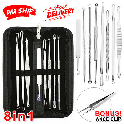 7 Pcs Blackhead Pimple Blemish Acne Extractor Remover Tool Kit Curved Tweezers