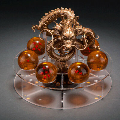 7 Pcs Crystal Dragon Balls With Gold Dragon Stand Anime Z Stereo Stars Home Gift